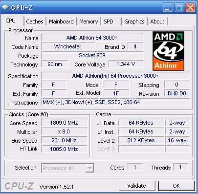 CPU-Zの表示結果