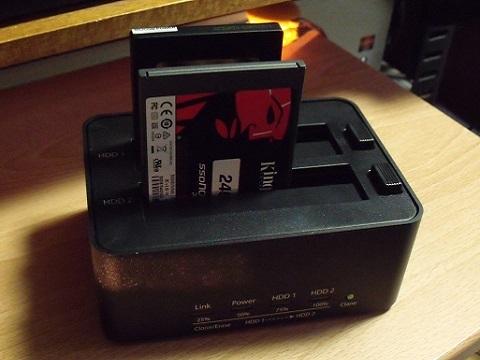 SSDを2台同時に挿した状態