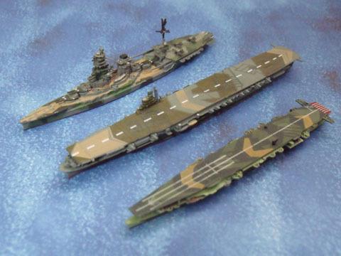 左から日向(戦艦)・瑞鶴(空母)・瑞鳳(軽空母)