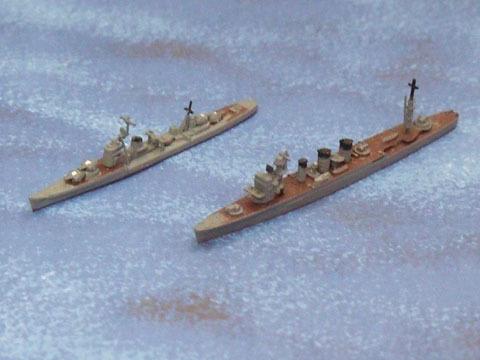 若月(駆逐艦)と五十鈴(軽巡洋艦)