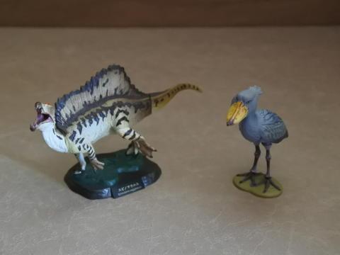 スピノサウルスとハシビロコウ