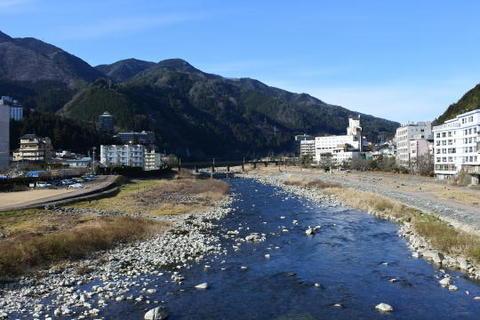 橋の反対側、奥が高山本線の鉄橋