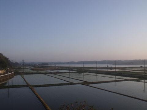 北浦の湖畔を走る
