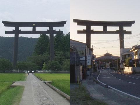 熊野本宮大社と大神神社の大鳥居