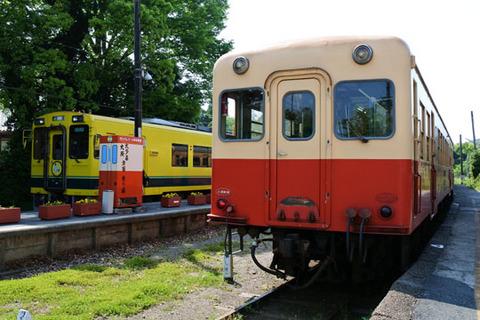 いすみ鉄道と小湊鉄道の車両が並んで止まっている