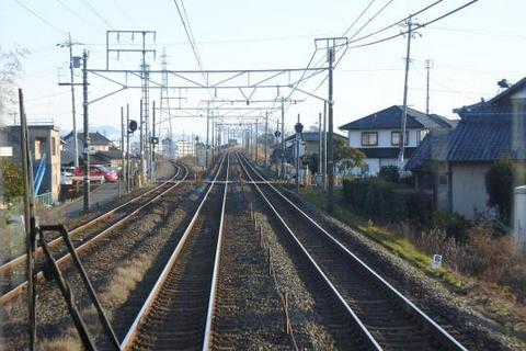 左の線路は樽見鉄道線