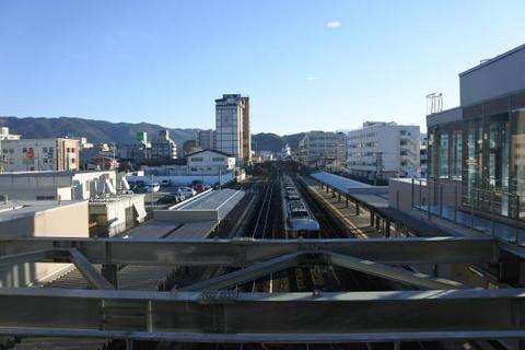 橋上駅舎の窓から見た高山駅ホーム