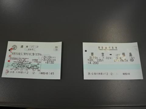 週末パスと福島までの特急券
