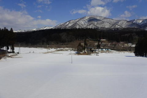 一面が雪に覆われている