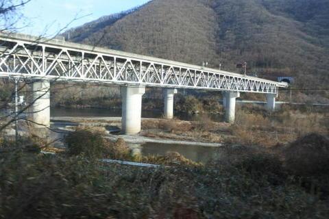 川を高速道路が横切る
