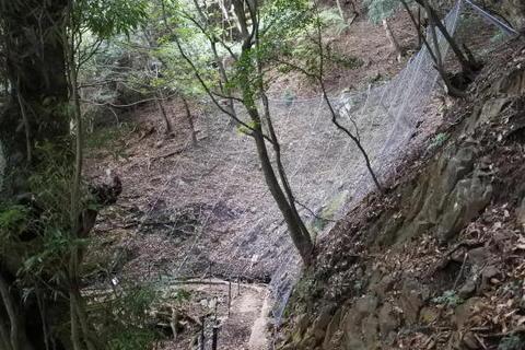 落石防止の金網