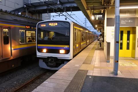千葉行きの電車が到着