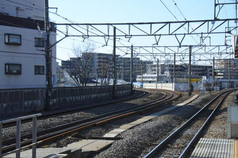 左側にカーブしていく線路が東海道貨物線