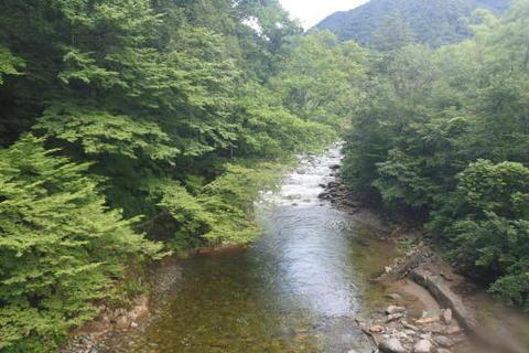 真下を川が流れる
