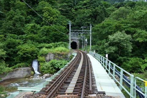 踏切から上り線の線路を撮影