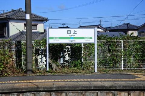 田上駅の駅標