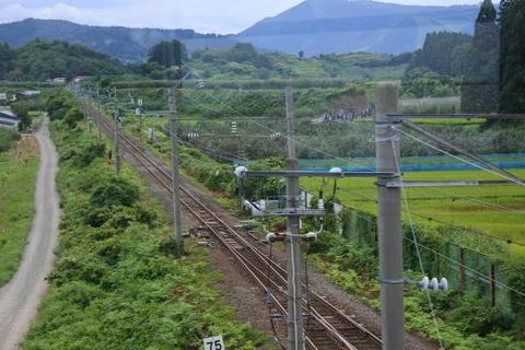 奥羽本線の線路を跨ぐ